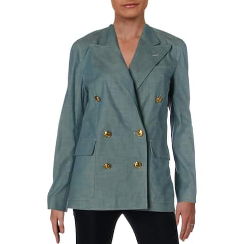Polo Ralph Lauren Womens Double-Breasted Blazer Chambray Cotton