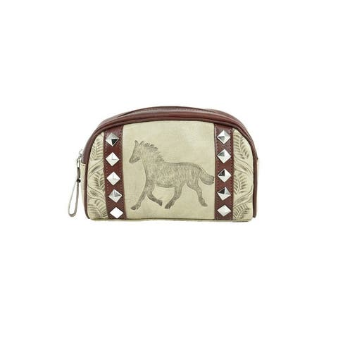 American West Western Cosmetic Case Womens Hitchin' Post Sand - 8 x 5 x 2.5
