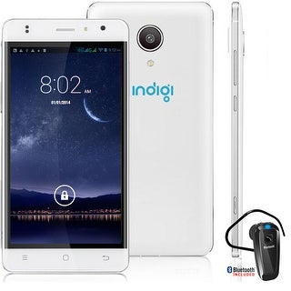 """Indigi 4G LTE SmartPhone Android 6.0 MarshMallow Curved 5"""" + Bluetooth Bundle - White"""