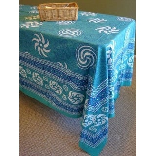 Handmade 100% Cotton Sunflower Spiral Tablecloth Tapestry Spread Turquoise 60x88 Twin Full