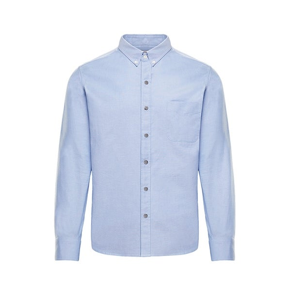 Moncler Mens Solid Light Blue Button Down Oxford Shirt. Opens flyout.
