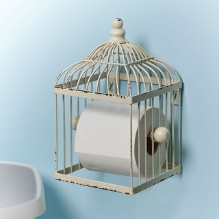 Bird Cage Toilet Paper Holder - Antiqued White Finish