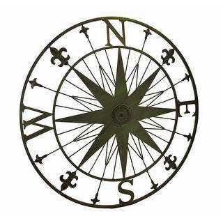 Compass Rose Fleur De Lis Vintage Finish Metal Wall Hanging - 29.5 X 29.5 X 0.75 inches