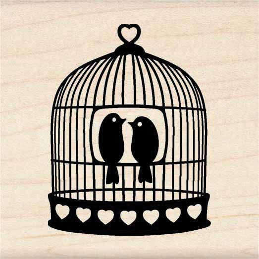 "Inkadinkado Mounted Rubber Stamp 1.75""X1.75""-Heart Bird Cage"