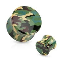 Green Camouflage Printed Acrylic Saddle Fit Plug (Sold Individually)
