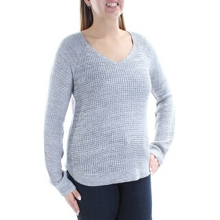 Womens Gray Long Sleeve V Neck Casual Sweater Size L