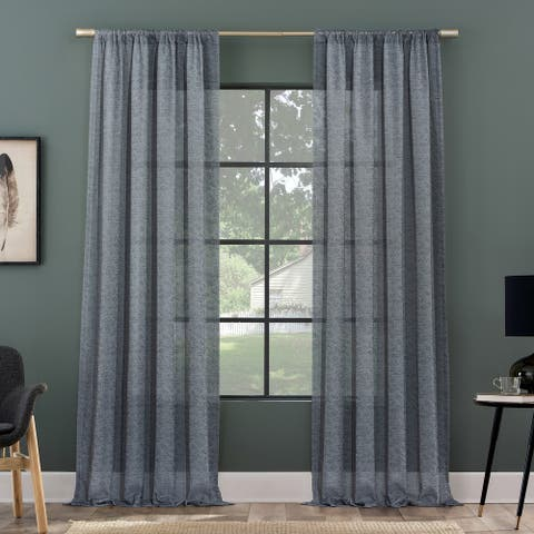 Clean Window Subtle Foliage Recycled Fiber Sheer Curtain Panel