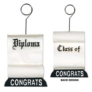 Pack of 6 Black and White Graduation Diploma Photo or Balloon Holder Party Decorations 6 oz.