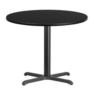"Dyersburg 36'' Round Black Laminate Table Top w/30"" High X-Base"