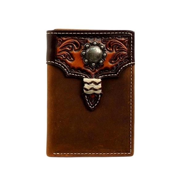 Nocona Western Wallet Mens Leather Tri-fold Medium Brown