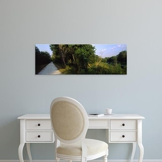 Easy Art Prints Panoramic Images's 'Trees along a road, South Padre Island, Texas, USA' Premium Canvas Art