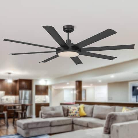 """Transitional 60"""" Matte Black 8-Blade Ceiling Fan with Remote Control"""