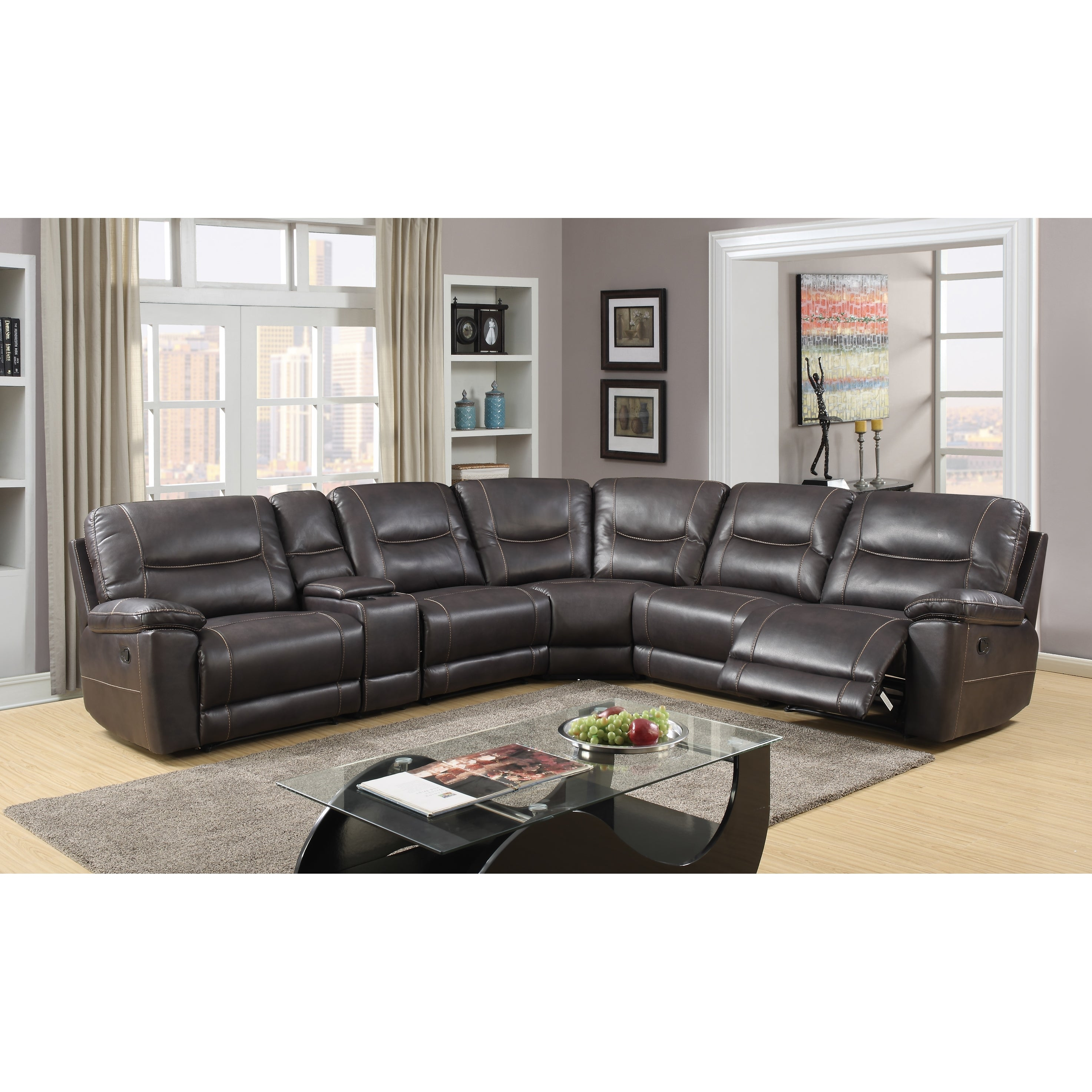 Shop Leather Air Match Upholstered Living Room Sectional With Recliner Overstock 17783683