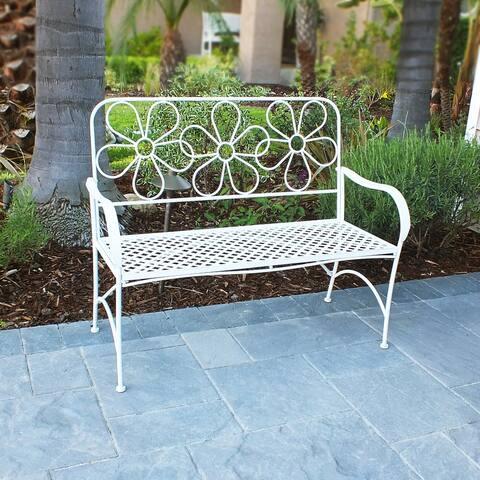 Alpine Daisy Metal Garden Bench, White