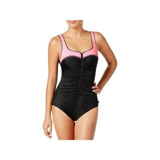 Reebok Womens Swim Zipper Front Tummy Control One-Piece Swimsuit - 18