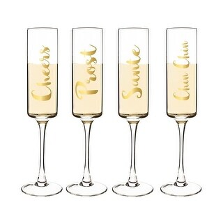 Cathys Concepts 8 oz. Gold Cheers Contemporary Champagne Flutes
