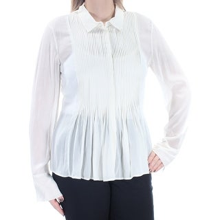 THEORY $295 Womens New 1269 Ivory Pleated Cuffed Button Up Top L B+B