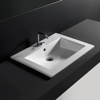 """WS Bath Collections Drop 71 - WS33001K  Drop 28"""" Drop In Bathroom Sink with Single Faucet Hole and Overflow - Ceramic White"""
