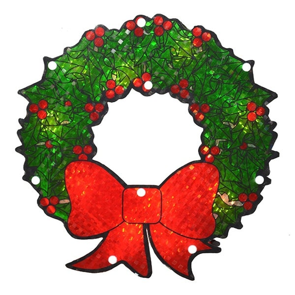 """11"""" Lighted Holographic Berry Wreath Christmas Window Silhouette - RED"""