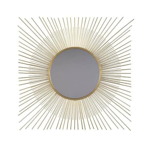 Round Accent Mirror with Sunburst Design, Gold and Silver