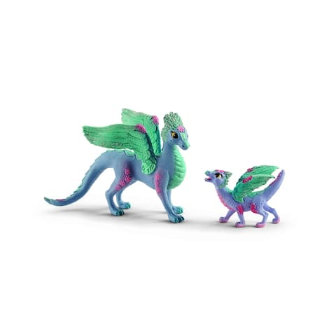 Schleich, Fantasy, Flower Dragon and Baby Dragon Toy Figurines - Small
