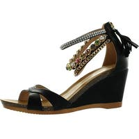 Refresh Passion-01 Womens Bejeweled Ankle Strap Back Zip Fringe Wedge Sandals