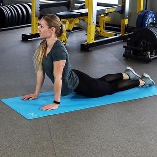 CASL Brands High Density Yoga Exercising Mat with PVC Foam Construction - Blue