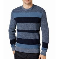 Tommy Hilfiger Blue Mens Size XL Crewneck Striped Ribbed Sweater
