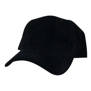 Suede Faux Mid Crown Curved Visor Velcro Adjustable Cap Hat - Black