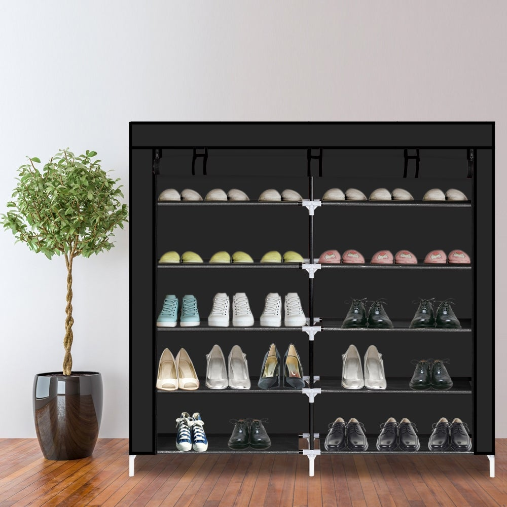 6 Tiers Portable Shoe Rack Closet Fabric Cover Shoe Storage Organizer Cabinet On Sale Overstock 31117880