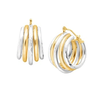 Multi-Band Hoop Earrings in 14K Gold-Bonded Sterling Silver - Two-tone