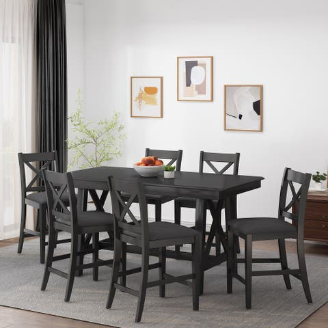 Emory Farmhouse Wood Counter Height 7 Piece Dining Set by Christopher Knight Home