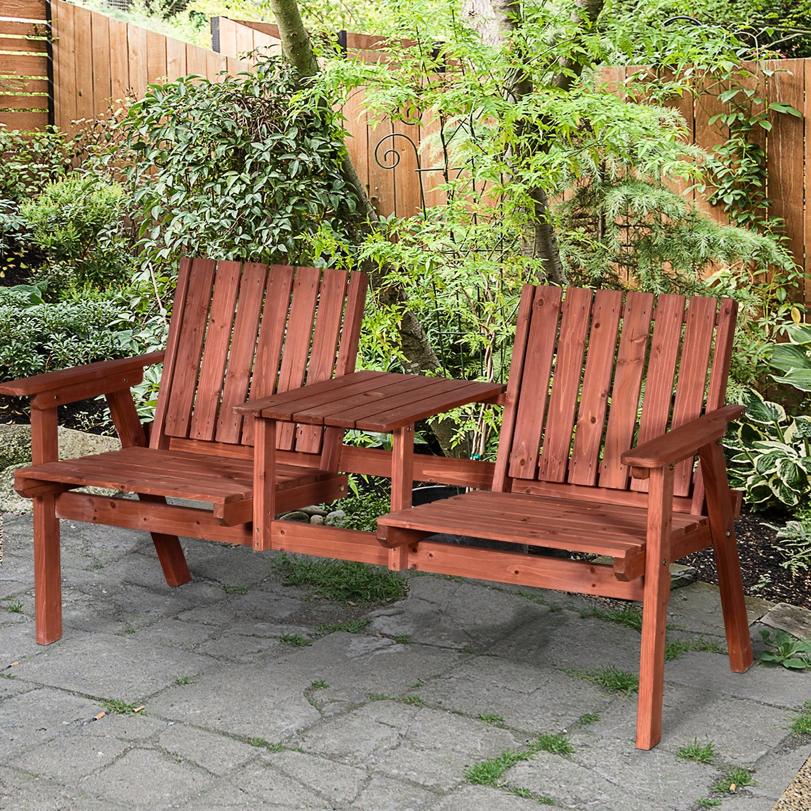 Picture of: Outsunny Outdoor Patio Wooden Double Chair Garden Bench With Middle Table Natural Weather Fighting Materials Overstock 31098847