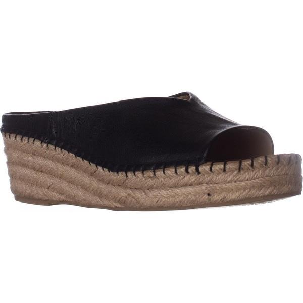 Franco Sarto Pine Espadrille Slip On Wedge Mules, Black Leather