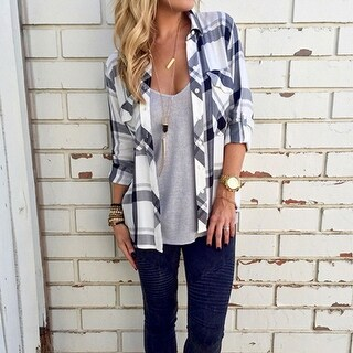 Women's Fashion Plaid Loose Long Sleeve Blouse Shirt
