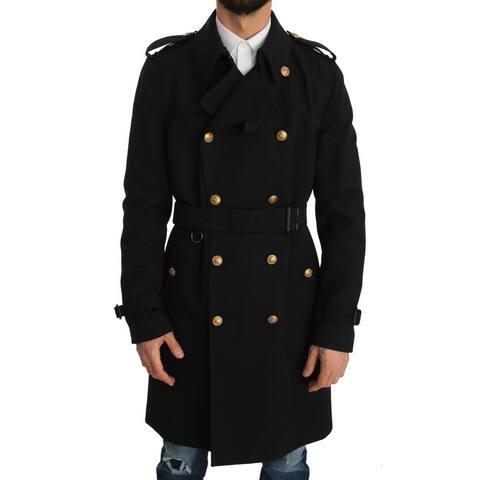 Dolce & Gabbana Long Trench Black Knight Jacket Men's Coat - it50-l