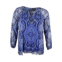 INC International Concepts Women's Plus Size Cold-Shoulder Blouse - Pagoda Paisley