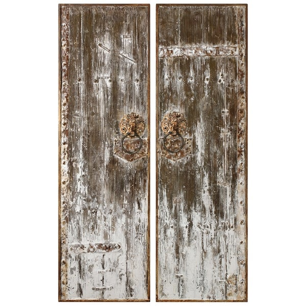 "Set of 2 Rustic Antiqued Wood Doors Hanging Wall Art 60"" - N/A"