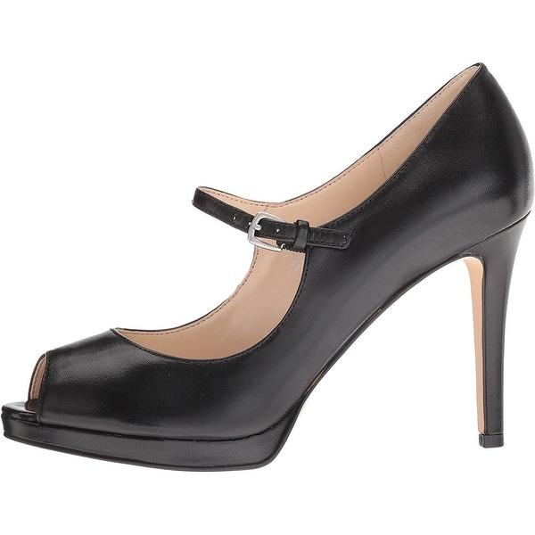 Nine West Womens Emergencee Leather Peep Toe Ankle Strap Mary Jane Pumps