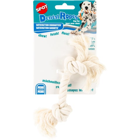 """Ethical Pets Dental Rope 2-Knot Chew Toy, Mini/6"""", White"""