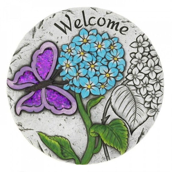 Purple Butterfly Welcome Garden Stepping Stone