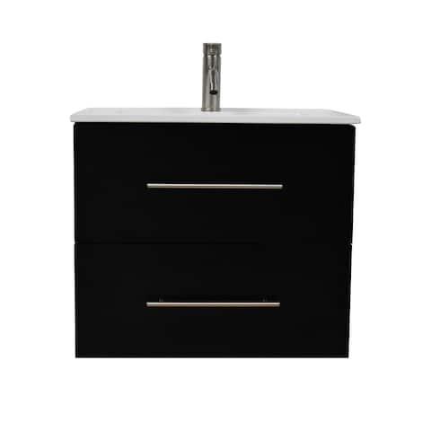 Volpa USA Napa 24-inch Black Wall-Mounted Floating Bathroom Vanity Set