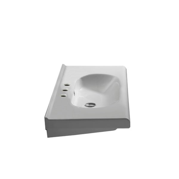 """Nameeks 069000-U City 23-5/8"""" Ceramic Wall Mounted/Drop in Bathroom Sink with 1 / 3 Faucet Holes Drilled"""