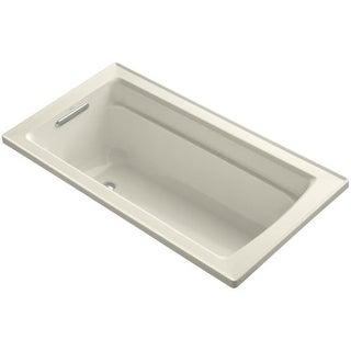 "Kohler K-1123 Archer Collection 60"" Drop In Soaker Bath Tub with Armrests, Lumba"