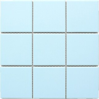 "TileGen. 4"" x 4"" Porcelain Mosaic Tile in Soft Cloud Floor and Wall Tile (11 sheets/10.56sqft.)"