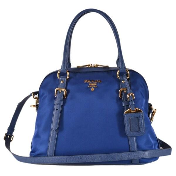 cb979e1b9353 Shop Prada 1BB013 Tessuto Nylon Bluette Blue Bauletto Satchel Purse ...