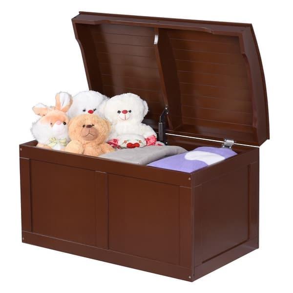 Shop Costway Kids Toy Box Storage Barrel Bins Chest Wood ...