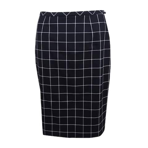 Tommy Hilfiger Women's Windowpane Pencil Skirt - Black/Ivory