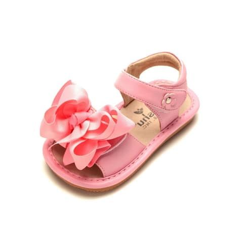 Mooshu Trainers Little Girls Pink Squeaky Cute Bow Strap Sandals