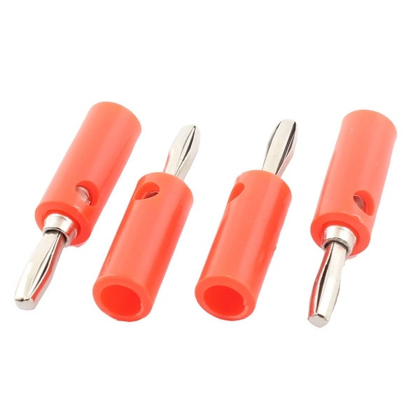 Audio Speaker Cable Wire 4mm Banana Plug Connector Adapter Red Silver Tone 4pcs